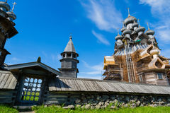 Historical architectural ensemble on the island of Kizhi in Russ. Kizhi Pogost - historical architectural ensemble of the wood is located on the island of Kizhi royalty free stock image