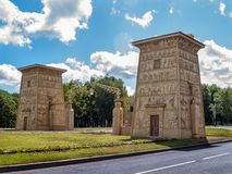 Historical architectural object in the Egyptian style at the entrance to Tsarskoe Selo in St. Petersburg stock photos