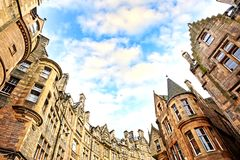 Historical architecture in the street of the Old Town in Edinburgh Royalty Free Stock Photos