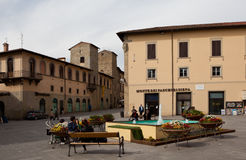 The historical area of ​​the city - the area of ​​Piazza Torre di Berta. Sansepolcro. Italy. Royalty Free Stock Photos