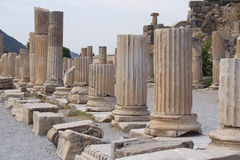 Historical areal Ephesus, Turkey. Marbled columns - ruins of ancient city Ephesus, Turkey Royalty Free Stock Image