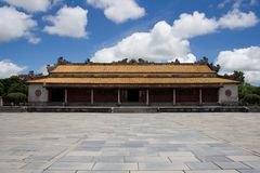 Historical Asian Hung Mieu Temple building in Hue Imperial City, Central Vietnam. Royalty Free Stock Images