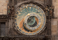 The historical astronomical Clock on the Old Town Hall in Prague. The historical medieval astronomical Clock on the Old Town Hall in Prague, Czech Republic Stock Image