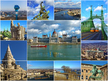 Historical attractions of Budapest, Hungary (collage) Stock Images