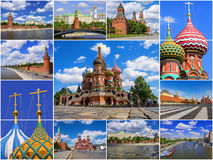 Historical attractions of Moscow Kremlin, Russia (collage) Stock Photography