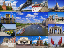 Historical attractions of Moscow, Russia (collage) Royalty Free Stock Images