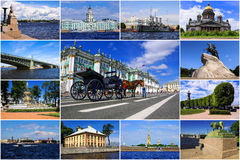 Historical attractions of St. Petersburg. Russia (collage) Royalty Free Stock Images