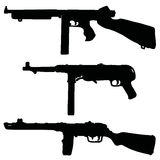 Historical automatic guns. Three black historical automatic guns silhouettes, hand drawn vector illustration Stock Illustration