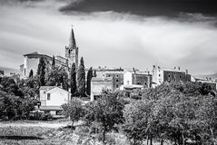 Bale village, Istria, Croatia, colorless. Historical Bale village in Istria, Croatia. Travel destination. Beautiful place. Black and white photo stock photos