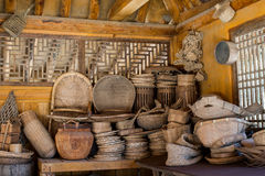 Historical Bamboo weaved basket ware film set in korea. South-korea dream film set indoor shop basket ware in wooden historical building used for movies royalty free stock photography