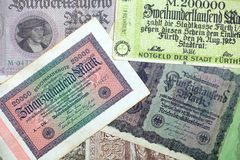 Historical banknotes. A collection of different historical banknotes from the depression in the twenties stock image