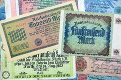 Historical banknotes. A collection of different historical banknotes from the depression in the twenties stock images