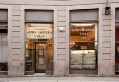 Historical barber shop, Milan Stock Photos
