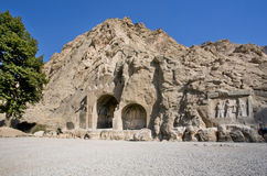 Historical Bas-relief In Ancient Arches Of Taq-e Bostan From The Era Of Sassanid Empire Of Persia Royalty Free Stock Photo