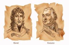 Historical battles: Borodino. Portraits of commanders of Borodino battle: Murat and Kutuzov - Ancient style vector illustration