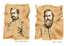 Historical battles: Brandy Station. Portraits of commanders of Brandy Station battle: Pleasanton and Stuart - Ancient style vector illustration