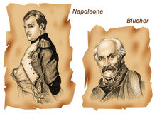 Historical battles: Waterloo. Portraits of commanders of Waterloo battle: Napoleon and Blucher - Ancient style vector illustration