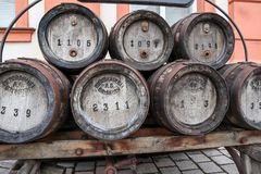 Historical beer kegs royalty free stock images