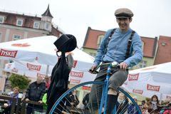 Historical bicycle show Stock Photography