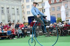 Historical bicycle show Stock Image
