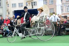 Historical bicycle show Royalty Free Stock Photo