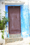 historical blue  in  antique building    wood and metal rusty Royalty Free Stock Image