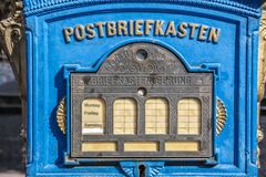 Historical blue mailbox Royalty Free Stock Photography