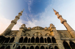 Historical Blue Morque and cloundy blue sky at dawn, Istanbul, T Royalty Free Stock Image