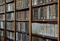 Historical books from the 16th century in the Joanina Library. In Coimbra, Portugal Stock Images