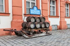 Historical brewery sled with beer kegs stock photography