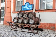 Historical brewery sled with beer kegs stock photo