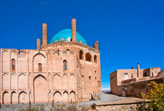 Historical brick walls and minarets of mausoleum Dome of Soltaniyeh became the UNESCO World Heritage site Stock Image