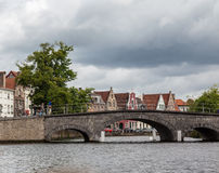 Historical Bridge Bruges Belgium Stock Images
