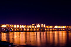 Isfahan night. Historical Iranian bridge of Safavid era in Isfahan, Khaju bridge Stock Photo