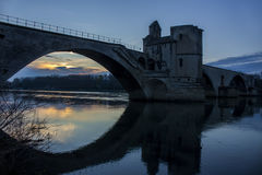 Historical Bridge at Sunset in Avignon, France royalty free stock image
