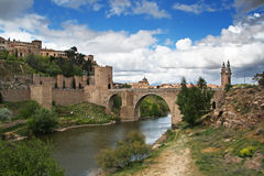 Historical Bridge in Toledo. Bridge over the Tagus river in Toledo, Spain royalty free stock images