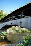 Historical bridge. View from the frog perspective on the roofed wooden bridge of Forbach in the Murg Valley in the Black Forest, Germany Royalty Free Stock Photo