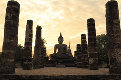 The historical Buddha statue before sunset , The northern of Thailand Royalty Free Stock Photo