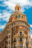 Historical building Bank of Valencia  in the old town Valencia, Spain Royalty Free Stock Photography