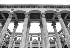 Historical building with column and bas-relief of the Soviet era royalty free stock photography