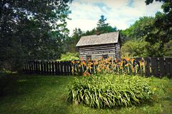 Historical Building Daylilies Royalty Free Stock Photo