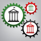 Historical building with flag. Vector. Three connected gears wit royalty free illustration