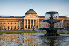 Historical building with fountains in Wiesbaden Royalty Free Stock Images