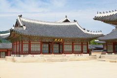 Historical building in Gyeongbokgung Palace in Seoul, Korea. Royalty Free Stock Photo