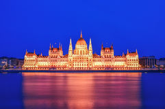 The historical building of Hungarian Parliament during the blue Stock Images