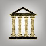 Historical building illustration. Vector. Blackish icon with golden stars at grayish background.. Illustration. vector illustration