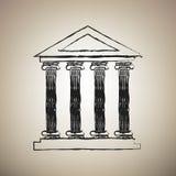 Historical building illustration. Vector. Brush drawed black ico stock illustration