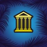Historical building illustration. Vector. Golden icon with black stock illustration