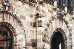 Architectual detail of the Postal Palace i Mexico City. The historical building of the main post office in downtown Mexico City stock photography