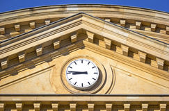 Historical Building and Modern Clock Stock Image